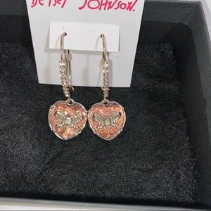 Betsey Johnson Pink Crystal Heart and Bow Earrings
